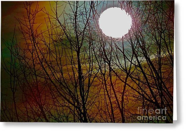 Moon Pyrography Greeting Cards - Moon Greeting Card by Frank Conrad