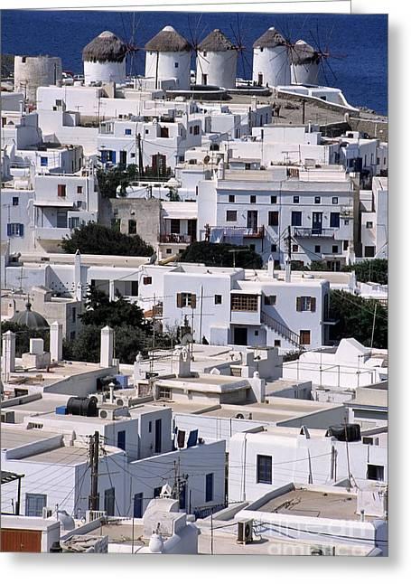 Mykonos Town Greeting Card by George Atsametakis