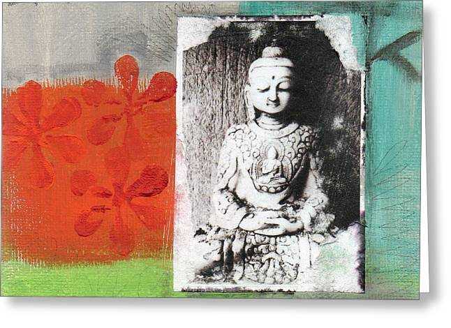 Gym Mixed Media Greeting Cards - Namaste Greeting Card by Linda Woods