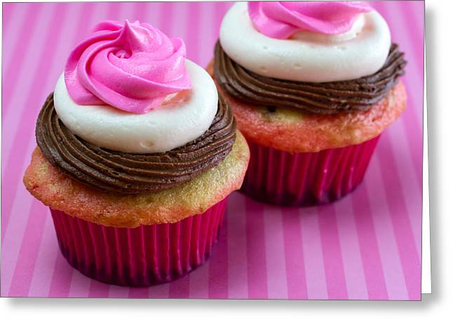 Neapolitan Greeting Cards - Neapolitan Cupcakes Greeting Card by Teri Virbickis