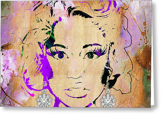 Urban Greeting Cards - Nicki Minaj Diamond Earring Collection Greeting Card by Marvin Blaine