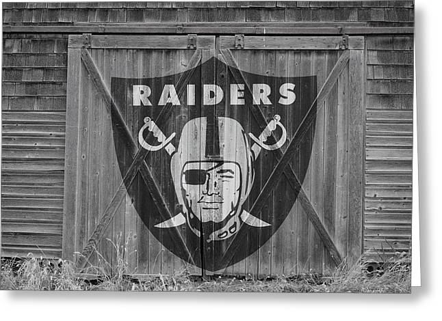 Barn Door Greeting Cards - Oakland Raiders Greeting Card by Joe Hamilton