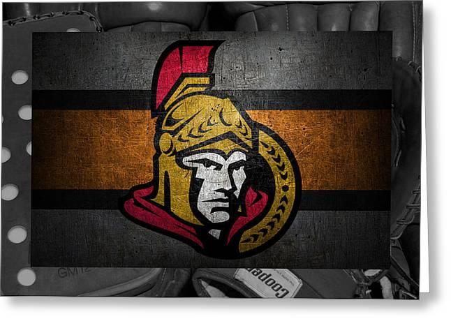 Skates Greeting Cards - Ottawa Senators Greeting Card by Joe Hamilton