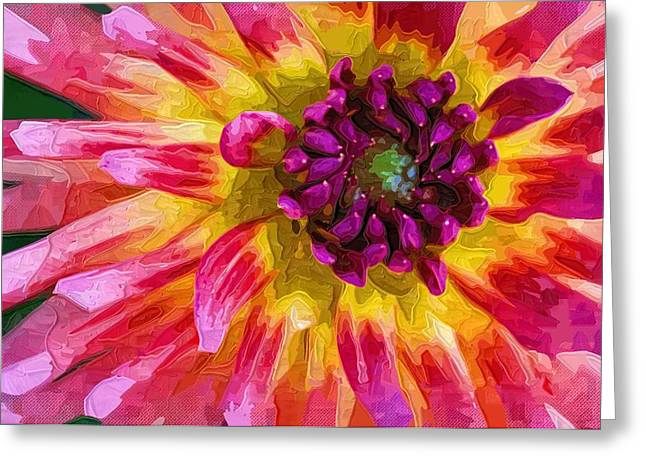 Close Up Paintings Greeting Cards - Painting the beauty Of Flowers With Oils Greeting Card by Victor Gladkiy