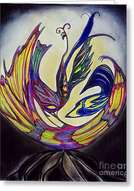 Glowing Pastels Greeting Cards - Phoenix Greeting Card by Melinda Firestone-White