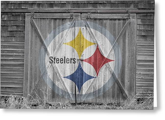 Barn Door Greeting Cards - Pittsburgh Steelers Greeting Card by Joe Hamilton
