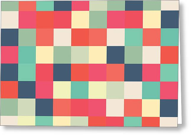 Pixel Art Square Greeting Card by Mike Taylor