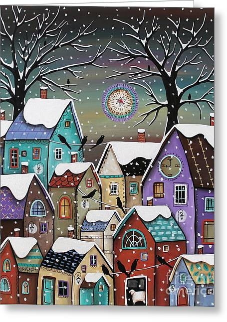 Winterscape Greeting Cards - 9 Pm Greeting Card by Karla Gerard