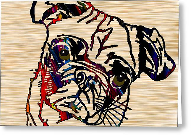 Puppies Mixed Media Greeting Cards - Pug Greeting Card by Marvin Blaine