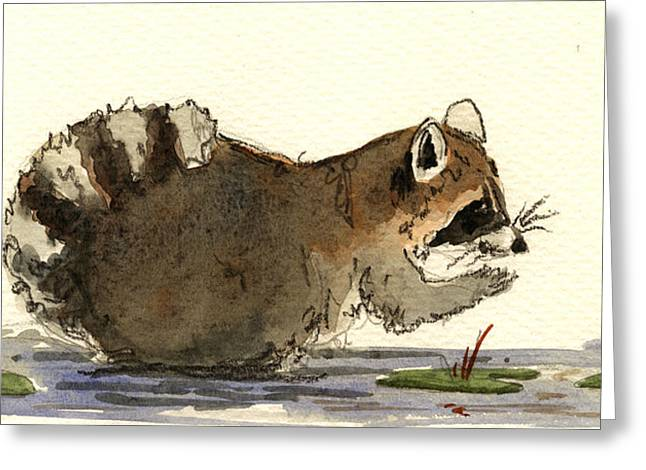 Raccoons Greeting Cards - Raccoon  Greeting Card by Juan  Bosco