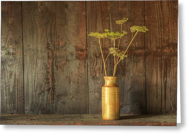 Retro Style Still Life Of Dried Flowers In Vase Against Worn Woo Greeting Card by Matthew Gibson
