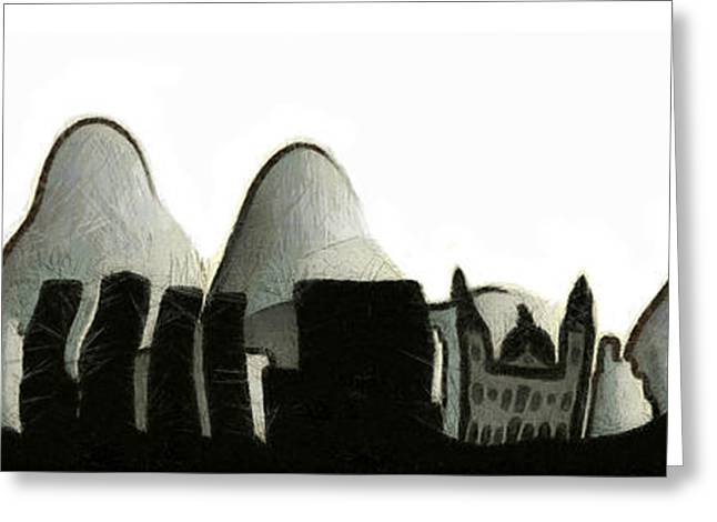 Jesus Mixed Media Greeting Cards - Rio de Janeiro skyline Greeting Card by Michal Boubin