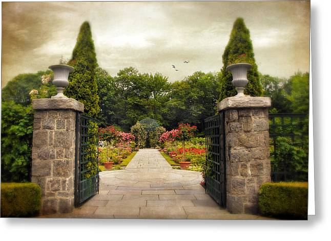 Stone Planter Greeting Cards - Rose Garden Greeting Card by Jessica Jenney