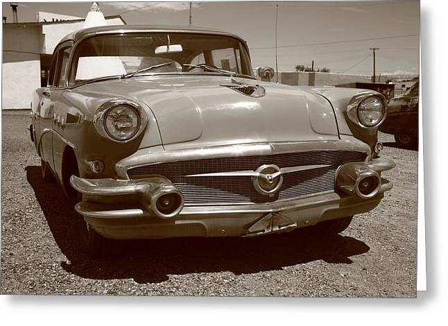 Blue Buick Greeting Cards - Route 66 Classic Car Greeting Card by Frank Romeo