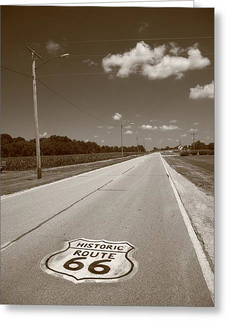 Gravel Road Greeting Cards - Route 66 Shield Greeting Card by Frank Romeo