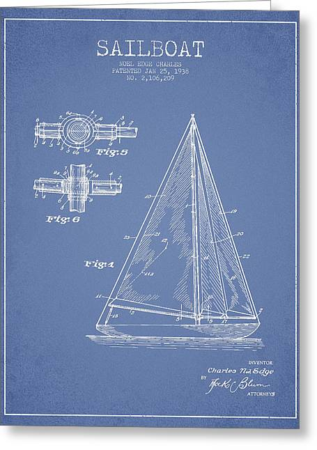 Sailboat Art Greeting Cards - Sailboat Patent Drawing From 1938 Greeting Card by Aged Pixel