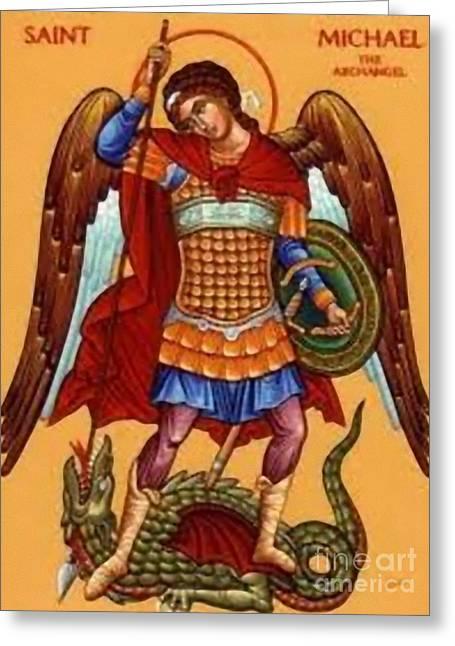 Etc. Paintings Greeting Cards - Saint Michael Greeting Card by Matteo TOTARO