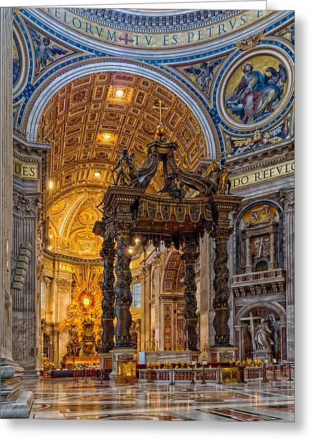 Jesus Christ Icon Greeting Cards - Saint Peters Basilica  Greeting Card by Mountain Dreams