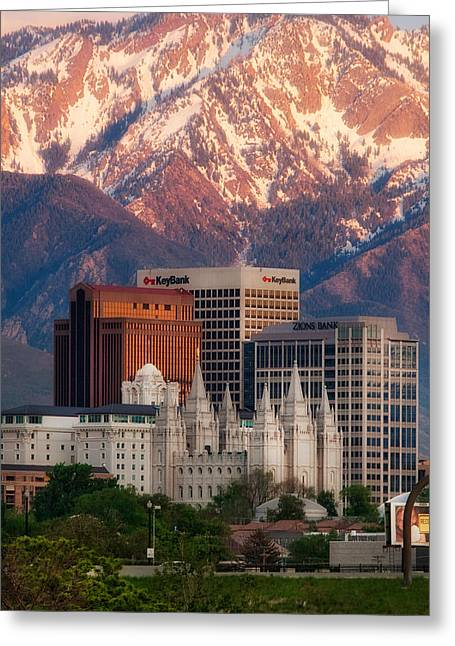 Salt Lake City Temple Greeting Cards - Salt Lake City Skyline Greeting Card by Utah Images