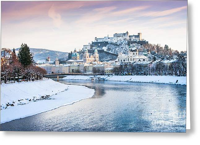 Salzburg Greeting Cards - Salzburg in winter Greeting Card by JR Photography
