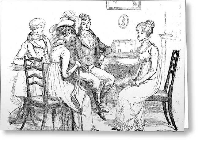 Conversations Greeting Cards - Scene from Pride and Prejudice by Jane Austen Greeting Card by Hugh Thomson