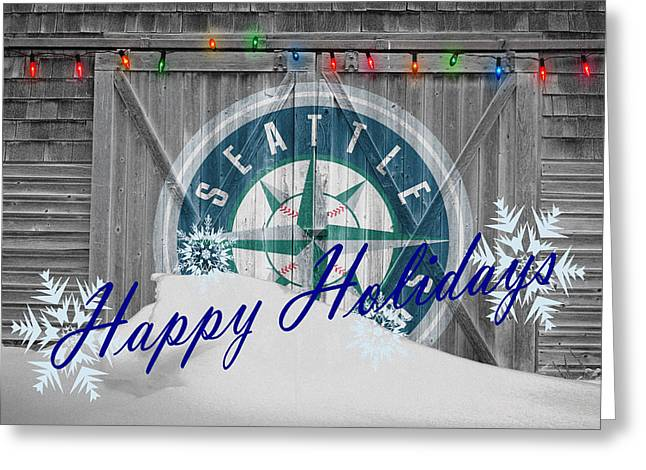 Seattle Greeting Cards - Seattle Mariners Greeting Card by Joe Hamilton
