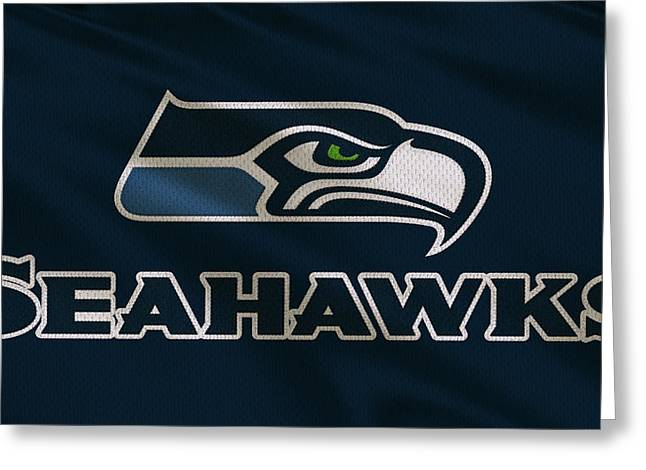Team Greeting Cards - Seattle Seahawks Uniform Greeting Card by Joe Hamilton