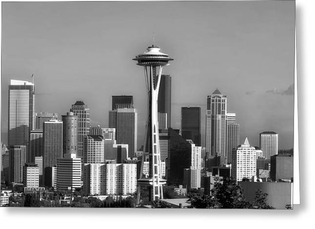 Downtown Seattle Washington Greeting Cards - Seattle Skyline Greeting Card by Mountain Dreams