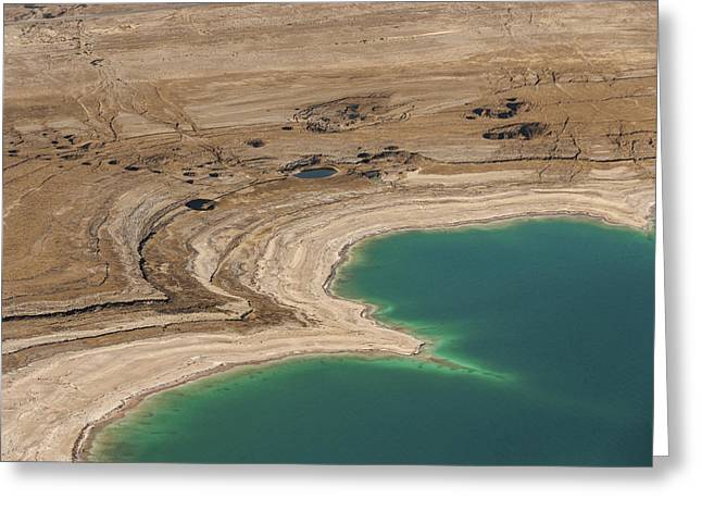 Swallow Hole Greeting Cards - Sinkholes In Northern Dead Sea Area Greeting Card by Ofir Ben Tov