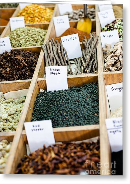 Traveling Salesman Greeting Cards - Spices on display in open market in Israel.  Greeting Card by Mariusz Prusaczyk
