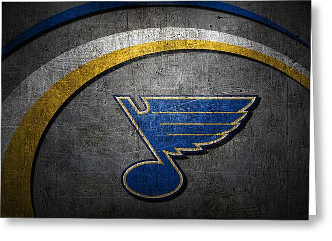 Ice Skates Greeting Cards - St Louis Blues Greeting Card by Joe Hamilton