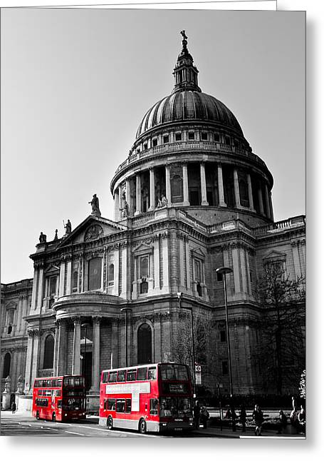 Old Street Greeting Cards - St Pauls Cathedral London Greeting Card by David Pyatt