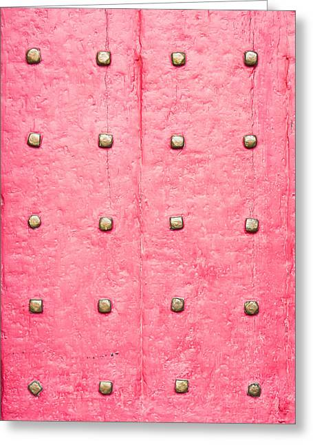 Stud Greeting Cards - Studded wooden surface Greeting Card by Tom Gowanlock