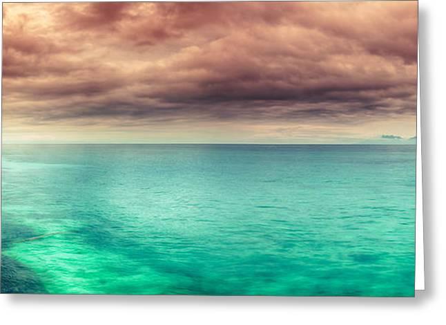 Amazing Sunset Greeting Cards - Sunset panorama Greeting Card by MotHaiBaPhoto Prints