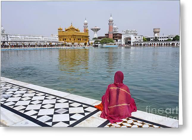 Punjab Greeting Cards - The Golden Temple at Amritsar India Greeting Card by Robert Preston