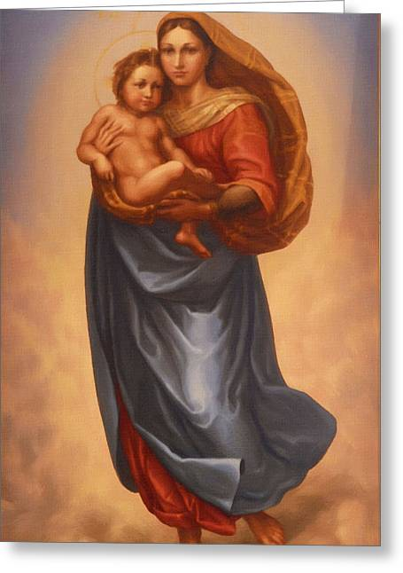 Catholic Art Greeting Cards - The Virgin And Child Greeting Card by Victor Gladkiy