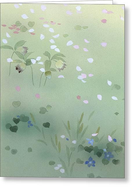 Purple Robe Photographs Greeting Cards - Yamezakura Crop Greeting Card by Haruyo Morita