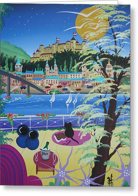 Cat Boat Greeting Cards - Untitled Greeting Card by Herbert Hofer