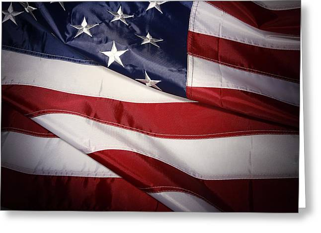 Usa Flag Greeting Cards - USA flag Greeting Card by Les Cunliffe