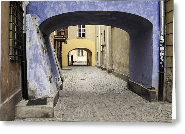 Sidewalks. Arches Greeting Cards - Warsaw Old Town. Greeting Card by Fernando Barozza
