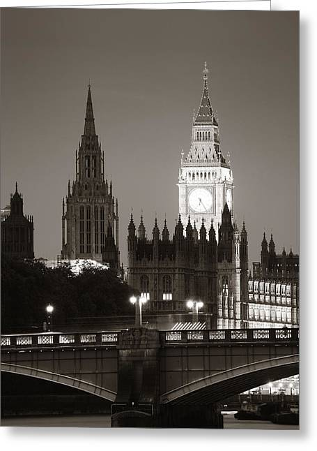 Famous Bridge Greeting Cards - Westminster Greeting Card by Songquan Deng