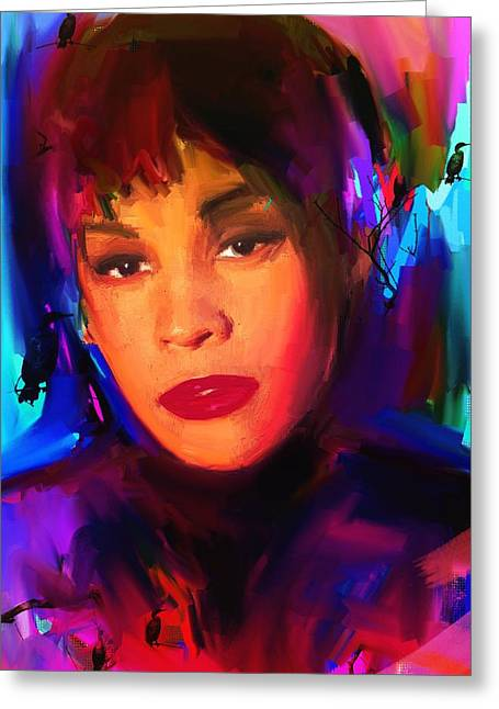Top Model Greeting Cards - Whitney Houston Greeting Card by Bogdan Floridana Oana