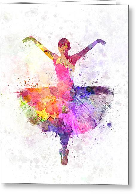 Ballet Dancers Greeting Cards - Woman ballerina ballet dancer dancing Greeting Card by Pablo Romero