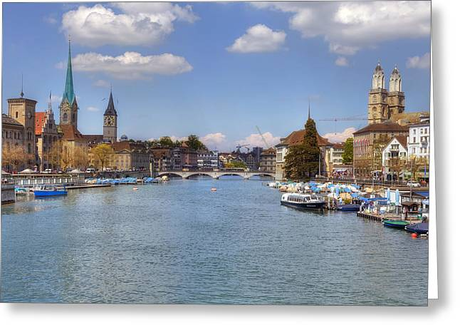 Centre Greeting Cards - Zurich Greeting Card by Joana Kruse