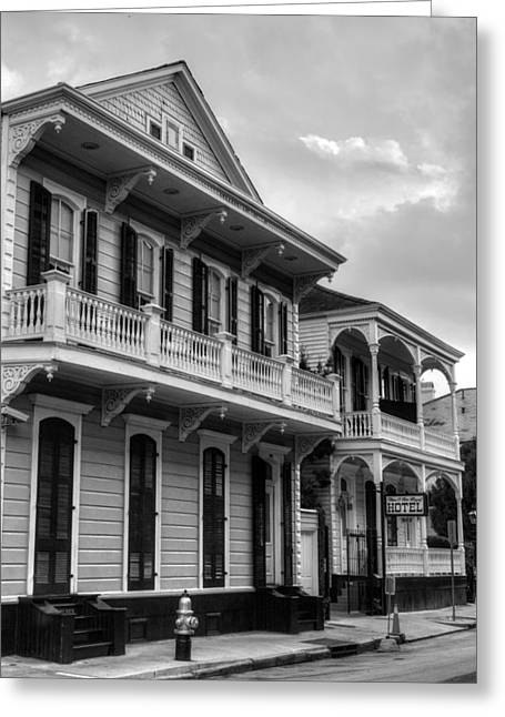 Royal Art Greeting Cards - 903 and 905 Royal Street in Black and White Greeting Card by Chrystal Mimbs