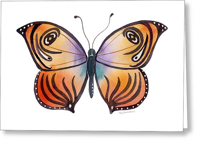 Abstract Butterfly Greeting Cards - 91 Orange Capanea Butterfly Greeting Card by Amy Kirkpatrick