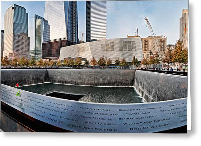 Towering Tree Greeting Cards - 911 Memorial Along Side The South Tower Greeting Card by Panoramic Images