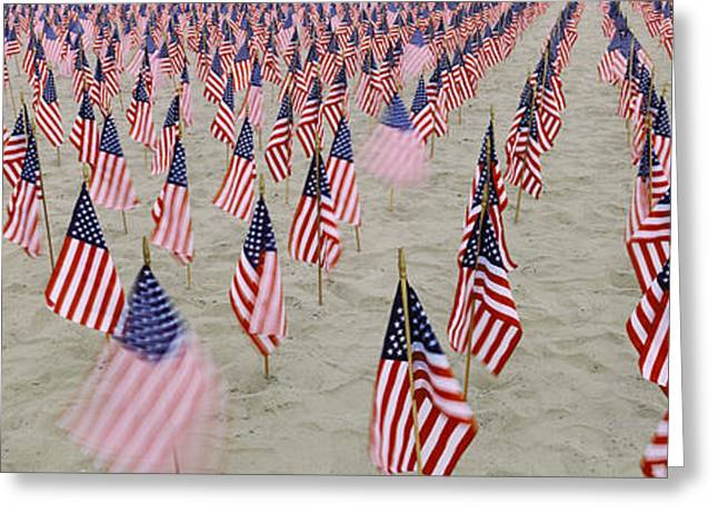 American Flag Photography Greeting Cards - 911 Tribute Flags, Pepperdine Greeting Card by Panoramic Images