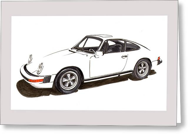 Suspension Drawings Greeting Cards - 911 White on White 1978 Porsche Greeting Card by Jack Pumphrey
