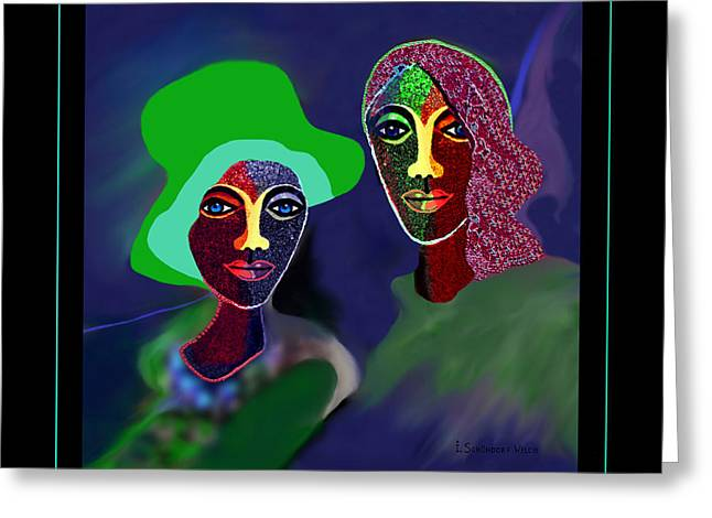 Green Hat Art Greeting Cards - 914 - Women Exotic   Greeting Card by Irmgard Schoendorf Welch